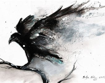 Giclee print on matte canvas - 8x12in or 16x12in A4 A3 - rolled canvas  - abstract raven w abstract wings