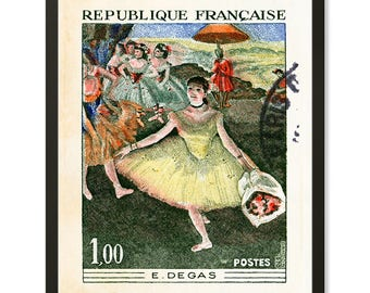 French Postage Stamp Art Print Ballet Art Print Vintage French Art print French Decor Dance Gifts Degas Print French Painting Theater Decor