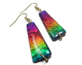 Dichroic Boho Earrings- polymer clay Earrings- Resin earrings Ready to Ship- Gifts for Her Rainbow Earrings Birthday