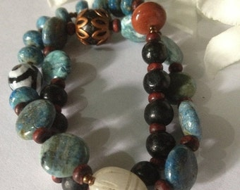 ON SALE Blue Moon Infinity Double Wrap Yoga Bracelet - Ocean Larimar