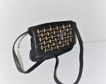 silver + gold studded 80s crossbody bag 1980s vintage black leather slouchy purse