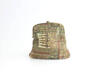Vintage Kashmir Tapestry Clutch Bag   Kiss Lock Foldover Purse   1950s Paisley Barkcloth Clutch