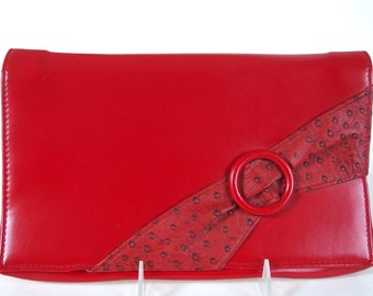 Vintage 1980's Red Clutch Purse with Detachable Strap