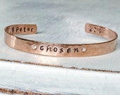 Chosen Collection - chosen hand stamped copper bracelet with hammered finish and Swarovski Crystals inset