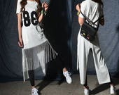 38 - slogan t-shirt dress / asymmetrical fringed cotton tunic dress/ extravagant jumpsuit / dior feminist short sleeve maxi dress (Y2046x)