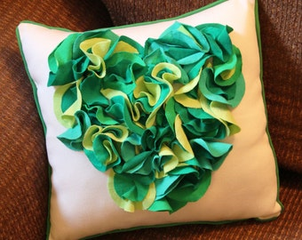 Whimsical Green Heart Decorative Pillow
