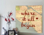 Black Friday SALE Top Gift Ideas Where it all began custom map art, Personalized Couple, Wedding Anniversary Gift Romantic Art Customized Un