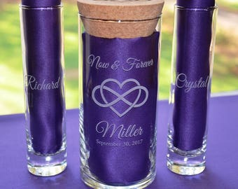Personalized Sand Unity Wedding Set, Renewing Vows, Wedding Candleholder, Anniversary Vase-(#23B)