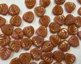 ON SALE 25 Coral Pink Brown Czech Pressed Glass Heart Leaf Beads 10mm
