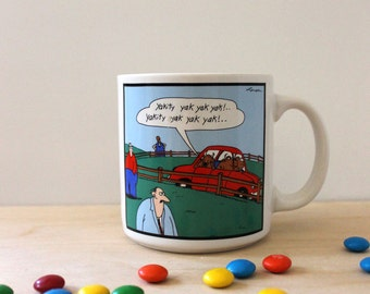 Vintage 1980s Gary Larson cartoon mug. Cow humor.
