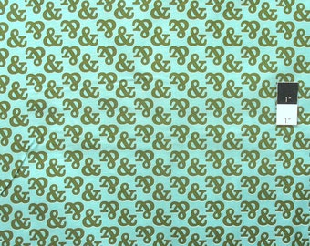 Cloud 9 Typography Ampersand Turquoise Certified Organic Cotton Fabric By Yard