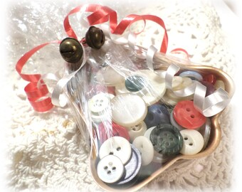 GIFT IDEA Vintage Copper BELL Jello Tin Full of Vintage Buttons Shrink Wrapped Tied with a Bow Gift for Seamstress Crafts Sewing Jewelry