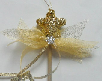 Godmother Keepsake Gold Wand Ornament