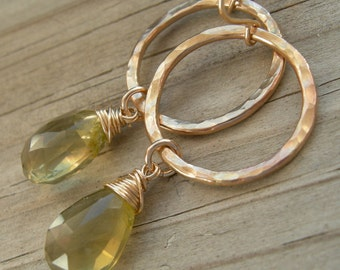 Olive Quartz Gold Circle Dangle Earrings