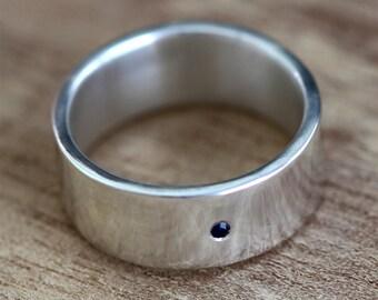 Mens Ring, Silver Ring Men, Silver Rings for Women, Sterling Silver Ring, Sapphire Ring, Mens Wedding Band, Mens Wedding Ring, Wedding Ring
