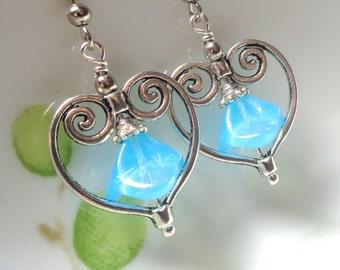 Flower heart Earrings, Blue Earrings, Dangle Earrings, Flower Earrings, Heart Earrings, Blue heart Earrings