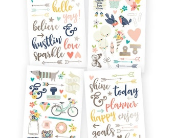 "Simple Stories Carpe Diem Posh Designer Stickers 4""X6"" 4/Pk Planner, Diary, Craft, Plan, Tasks, Daily, To Do, Lists, Inspiration"