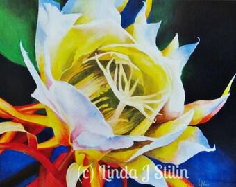 "Original, contemporary vibrant acrylic painting, CACTUS FLOWER, ""CEREUS"" 24"" x 30"" on canvas, by Linda J Stilin"