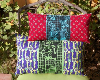 Papel Picado Dia de los Muertos Los Novios or El Musico Pillow Your Choice of One