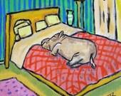20% off SALE Hippo Taking a Nap Hippopotamus Art Tile Coaster gift JSCHMETZ abstract MODERN pop folk art bedroom