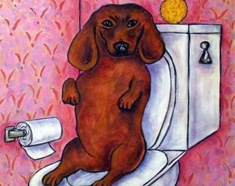 SALE 10 % off for holiday Dachshund in the Bathroom Dog Art Tile Coaster