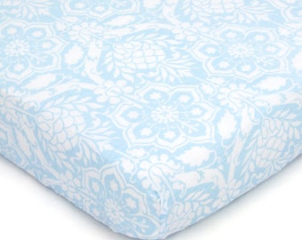 Blue Floral Crib Sheet (organic unbleached cotton muslin)