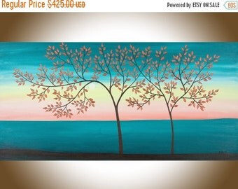 """Landscape painting Large painting Original art Turquoise copper art Contemporary Abstract art painting on canvas """"Blue Lake"""" by QIQIGALLERY"""