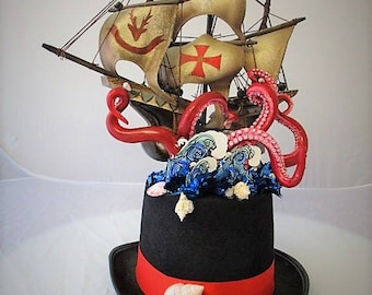 OOAK Crazy Mad Hatters Kraken Octopus Tentacle Top hat