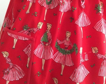 Holiday Hostess Apron, Retro Holiday Hostess Apron, Michael Miller Holiday Hostess Apron