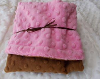 "Double Minky Baby Girl Lovey Blanket  17.5 "" X 17.5""  Pink and brown dimple monky"