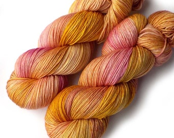 NEW Merino Sock Yarn Handdyed, 433 yards, Citrus Pink Rose