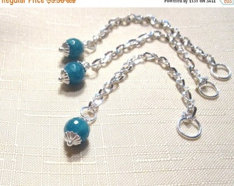 50% Off 3 Teal Green Jade 3 inch Chain Extenders, 8mm Faceted Round Stone Beads, Silver Chain, 8mm Jump Ring connector, Bead drop DA1014B D1