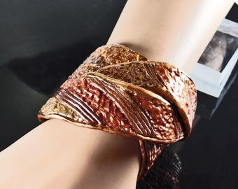 Polymer clay cuff bracelet, adjustable, textured browns, golds, bronze, copper colors
