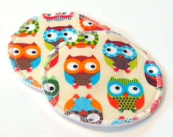 Large Reusable Nursing Pad Set in Bamboo/Organic Cotton with heavy fleece in Quilter's Cotton - Owls