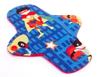 7 inch Reusable Pantyliner - Cloth winged ULTRATHIN Pantyliner - Quilter's Cotton top in Superheroes