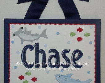 Shark, Canvas name sign, boys room decor, beach nursery art, blue, red, green, Personalized, Monogram art, nursery wall art, shark decor