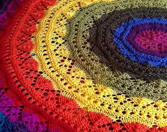 Made to Order MANDALA Blanket Knitted Round Blanket in Your Choice of Colors Washable Soft Acrylic