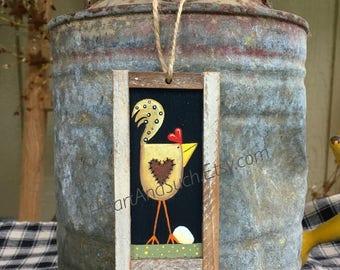 2 x 4 Mini Rustic Farmhouse Painting - Yellow Chicken