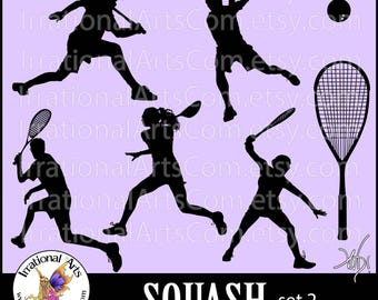 Squash Players set 2 - Vinyl Ready - Vector digital clipart graphics 7 EPS & SVG and PNG files with players racket ball  [Instant Download]