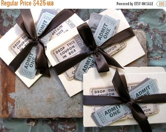 HOLIDAY SALE - Vintage Ephemera, 12 Manila Index Cards and Vintage Tickets for Scrapbooking, Collage
