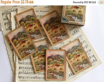 HOLIDAY SALE - Vintage Farm Country Cards (8) Gorgeous Cards for Tags, Mixed Media