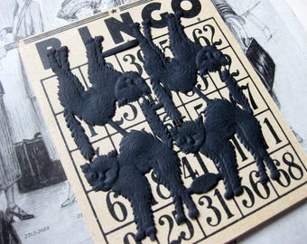 Four Vintage Bingo Cards, Heavy Duty, Antique Numbers. Scary Halloween Ephemera, Die Cuts, Four Scary Cats