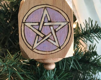 Primitive Wood Pentacle Ornament