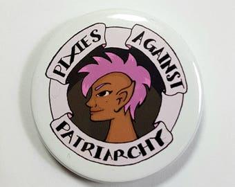 Pixies Against Patriarchy Feminist Mythology Badge Pinback Button