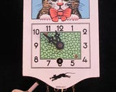 RESERVED For P ... Vintage Wooden Cat Clock Moveable Eyes - West German Wall Clock - Whimsical Moving Eye Cat Clock