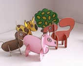 Vintage Jigbits animals cardboard play animals