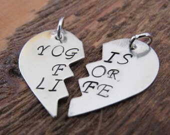 Yogis for life Set of Two Charms. Yoga partners  DIY add charms to your own necklace or keychain