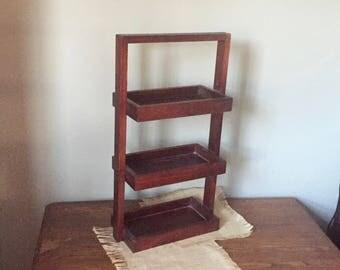 Vintage tower organizer bin berry crates three for bathroom craft art sales display shelf wood