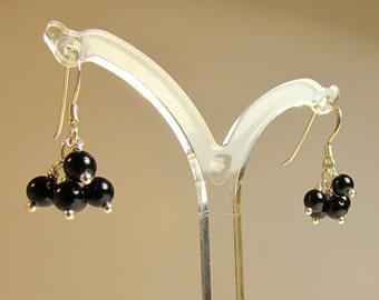 Black Agate Cluster Earrings