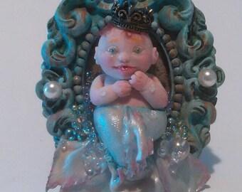 Baby Mermaid teacup ooak art Doll by moninesfaeries